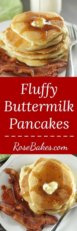 Fluffy Buttermilk Pancakes RoseBakes