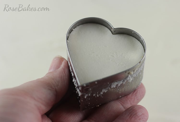 Heart Shaped Petit Fours Valentines in cookie cutter