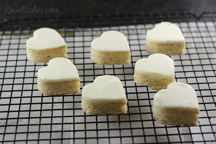Heart Shaped Petit Fours Valentines cut out heart cakes on cooling rack