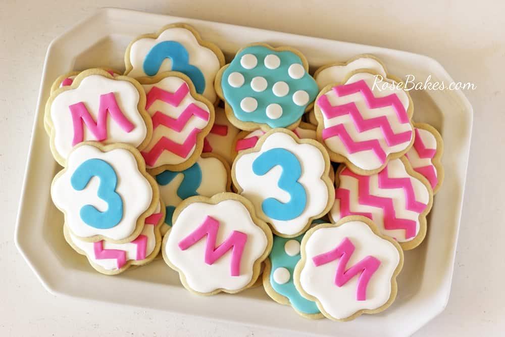 PInk & Blue Chevron Polka Dots Cookies