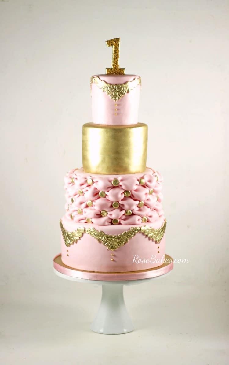 PInk & Gold Elegant 1st Birthday Cake