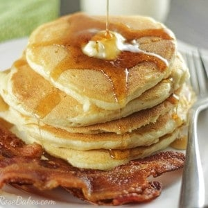 Pouring Syrup on Fluffy Buttermilk Pancakes FB