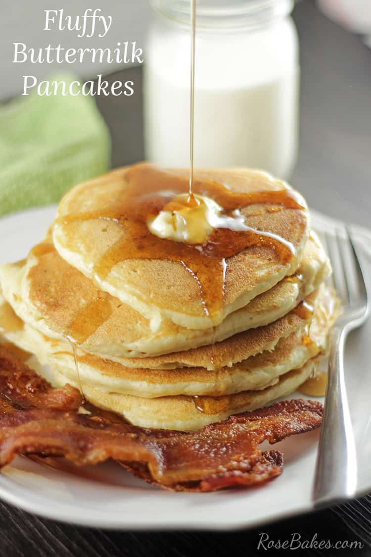 Pouring Syrup on Fluffy Buttermilk Pancakes