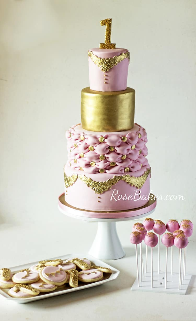 Princess Party Pink & Gold Dessert Table Rose Bakes