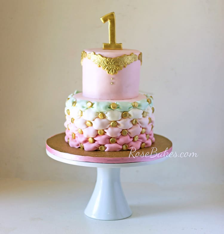 Pink And Gold First Birthday Cake Buttercream