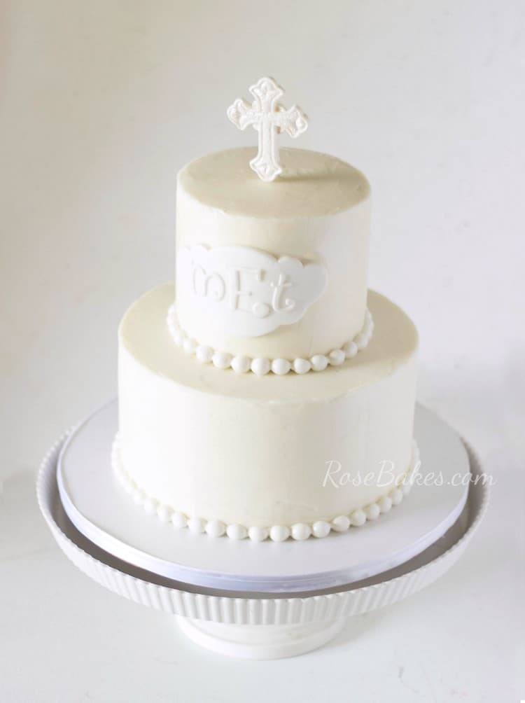 All White Christening Cake