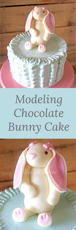Blue Buttercream Ruffles Cake with Modeling Chocolate Bunny by RoseBakes.com