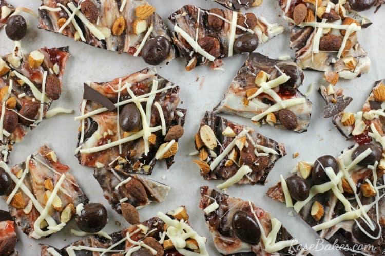 Broken Salted Dark Chocolate Strawberry & Nuts Bark