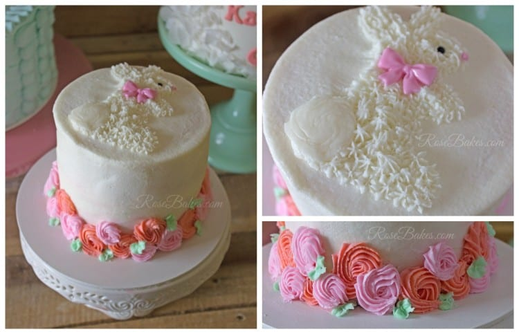 Buttercream Bunny and Roses Smash Cake