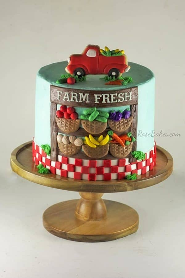 Farmers Market Cake with Truck Topper