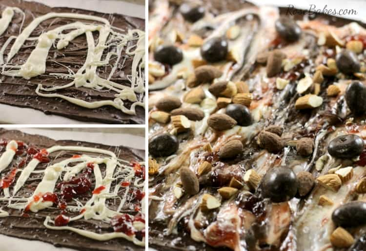 Making Dark Chocolate Almond Bark with Strawberries & Nuts