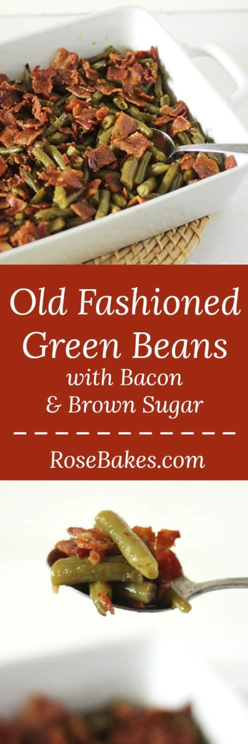 Old Fashioned Green Beans with Bacon, Soy Sauce & Brown Sugar by RoseBakes