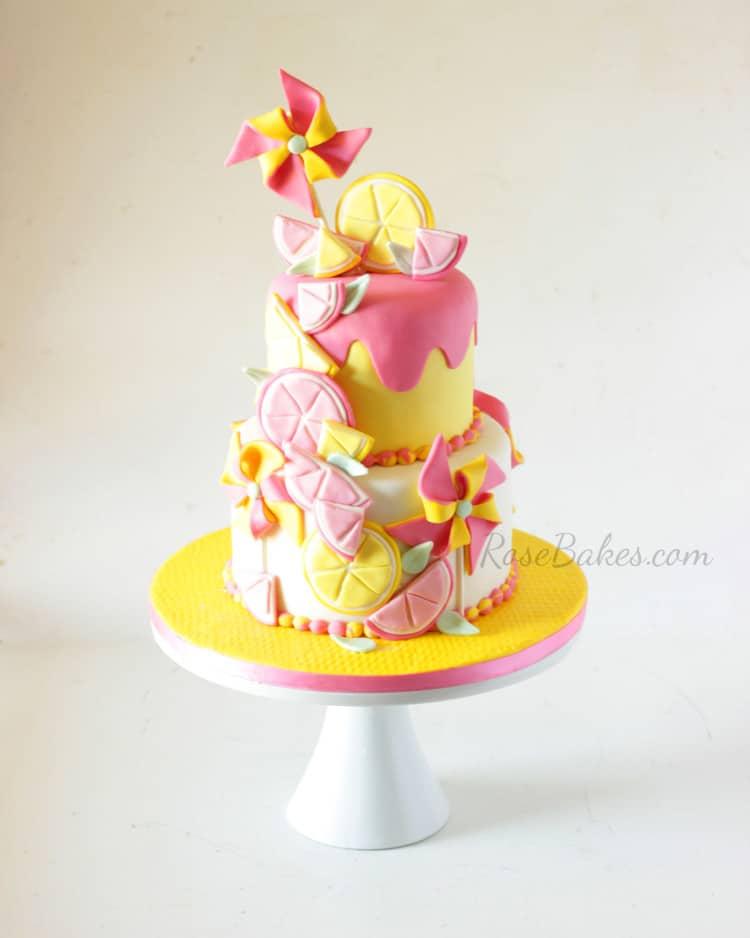 Pink Lemonade & Pinwheels Cake | RoseBakes.com