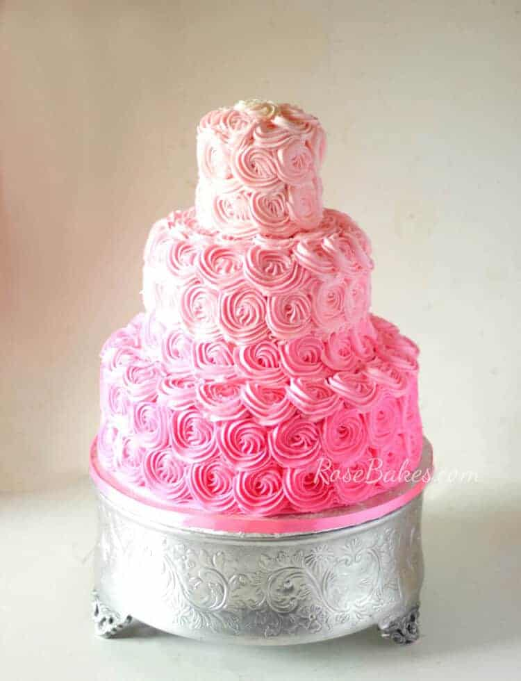 pink rose cake pink ombre buttercream roses wedding cake bakes 6591