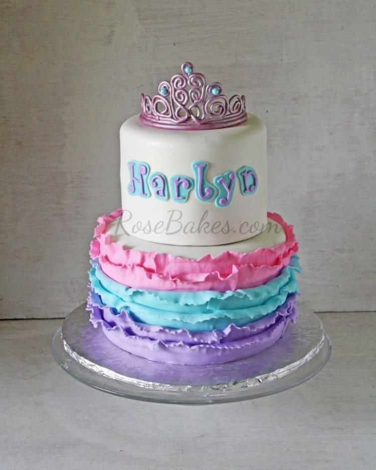 Priness Tiara Ruffles Cake Pink Purple Turqoise