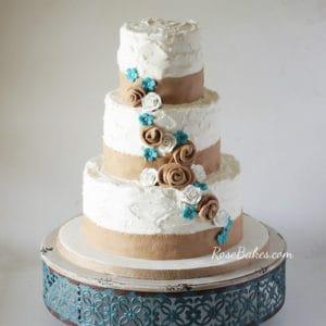 Rustic Burlap Turquoise Flowers Wedding Cake