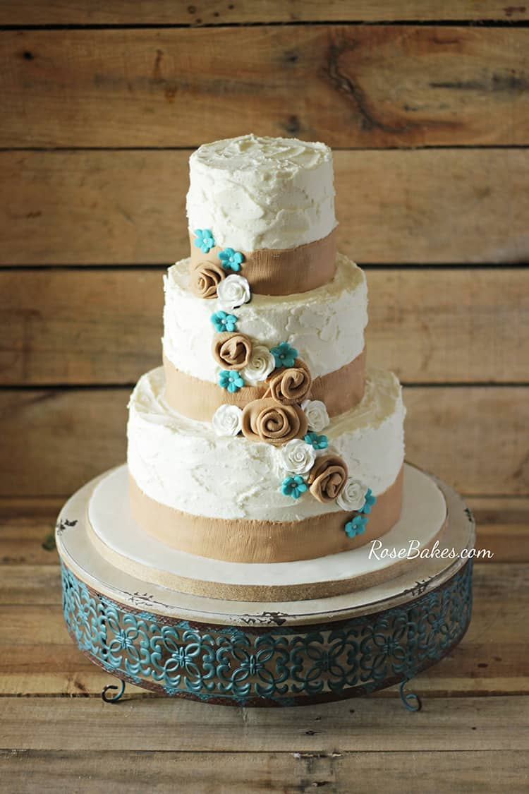 country wedding cake turquoise rustic burlap amp turquoise flowers wedding cake bakes 13008
