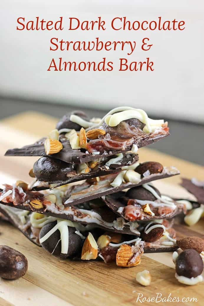 Salted Dark Chocolate Strawberry & Almonds Bark Recipe by RoseBakes.com #ad #LoveDoveFruits