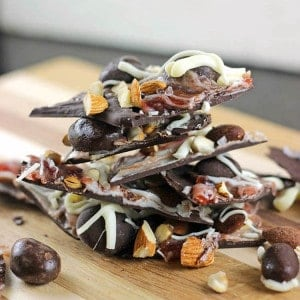 Salted Dark Chocolate Strawberry & Almonds Bark