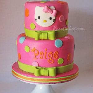Hot Pink & Green Hello Kitty Birthday Cake