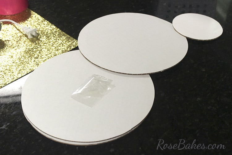 How To Cover a Cake Board in Glitter Paper 02