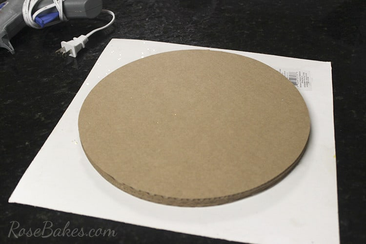 How To Cover a Cake Board in Glitter Paper 04