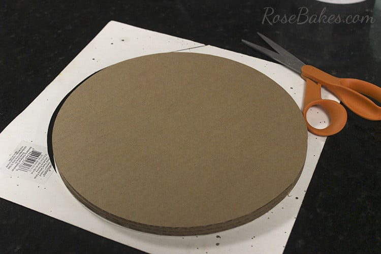 How To Cover a Cake Board in Glitter Paper 06