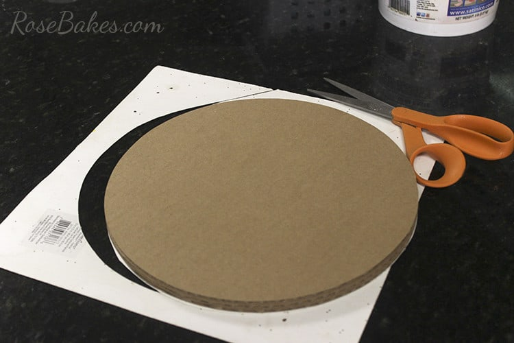 How To Cover a Cake Board in Glitter Paper 07