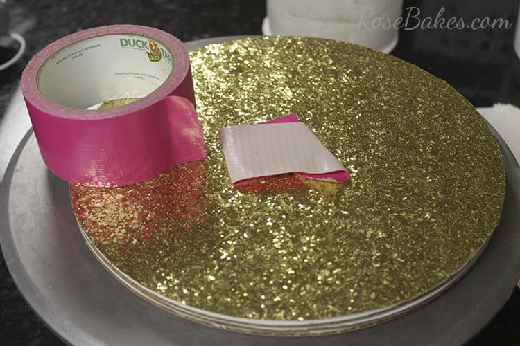 How To Cover a Cake Board in Glitter Paper 10
