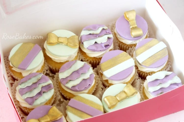 Mint Gold and Purple Cupcake Toppers