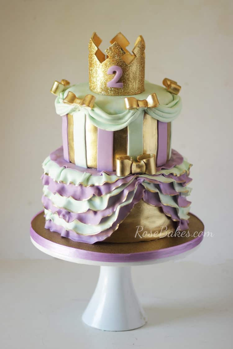 Purple, Mint, and Gold Princess Cake
