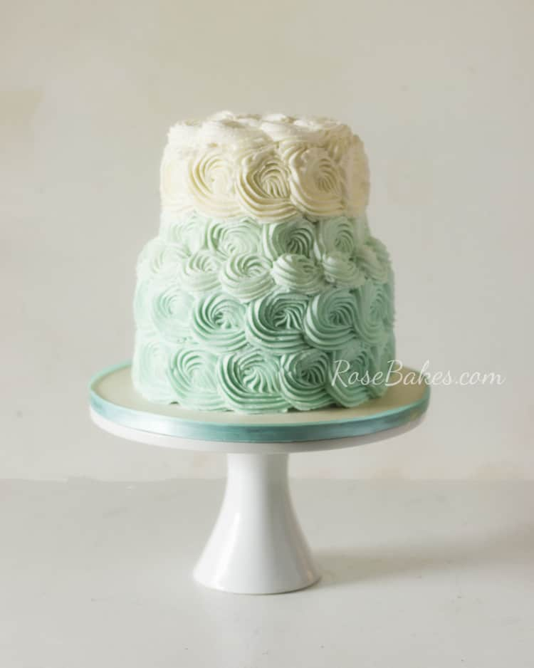 Teal & Cream Ombre Baby Shower Cake