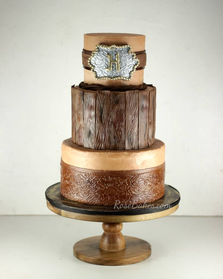 Western Cake with Belt, Leather, Wood