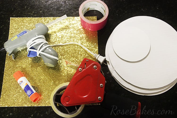 What You'll Need to Cover a Cake Board in Glitter Paper