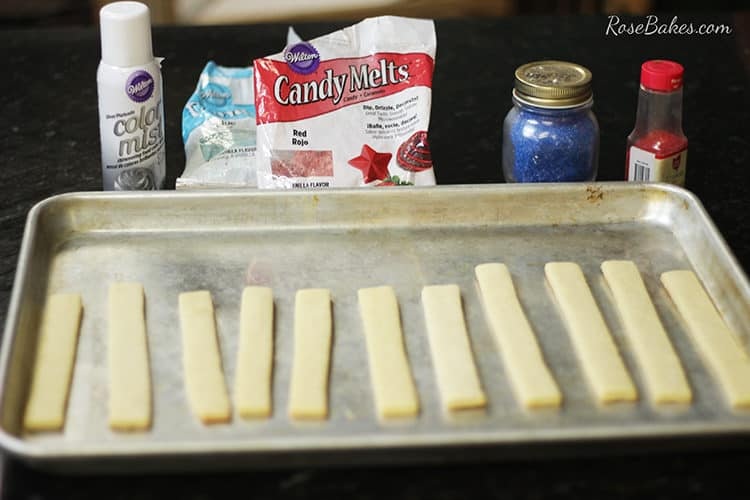 What you need to make light saber cookie sticks