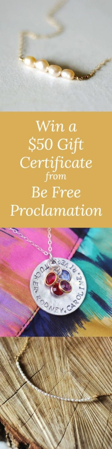 Win a $50 Gift Certificate from Be Free Proclamation