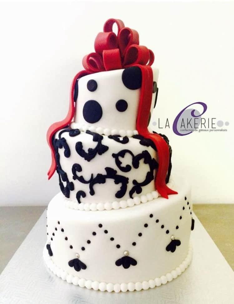 Wonky Red Black Wedding Cake