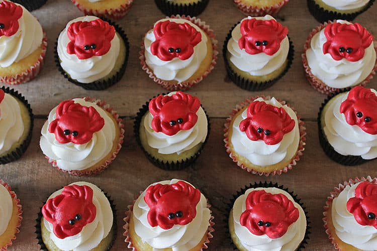 Crab Cupcake Toppers by Rose Bakes