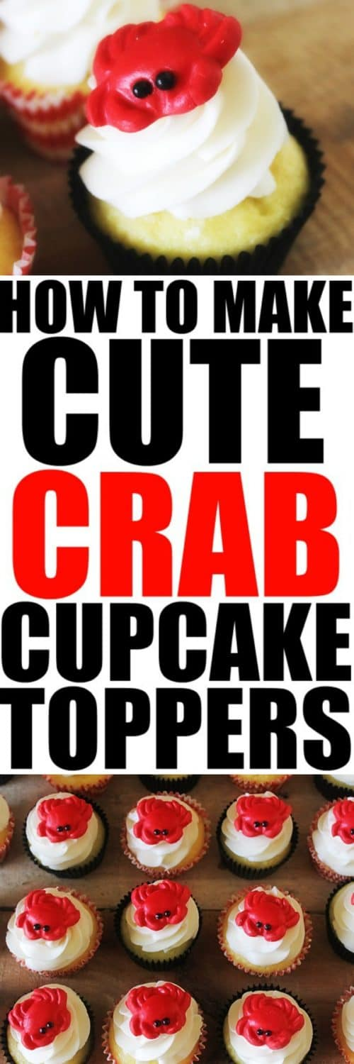 How to Make Cute Crab Cupcake Toppers at RoseBakes