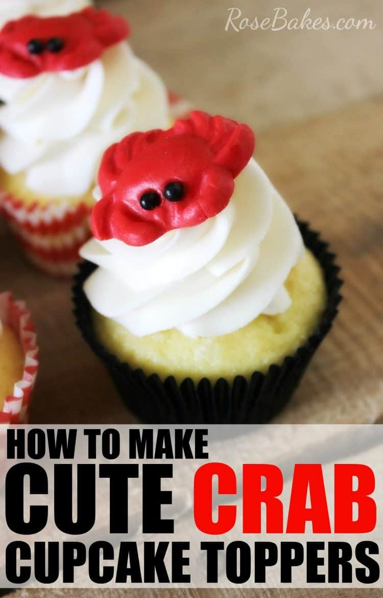 How to Make Cute Crab Cupcake Toppers by RoseBakes