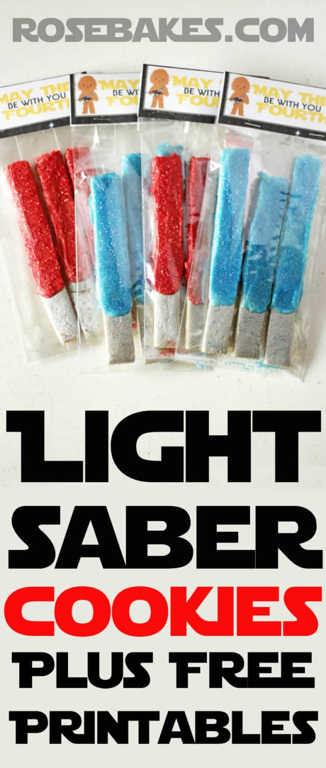 Light Saber Cookies plus free Printable Treat Bag Toppers ... May the Fourth be With You.  by RoseBakes.com