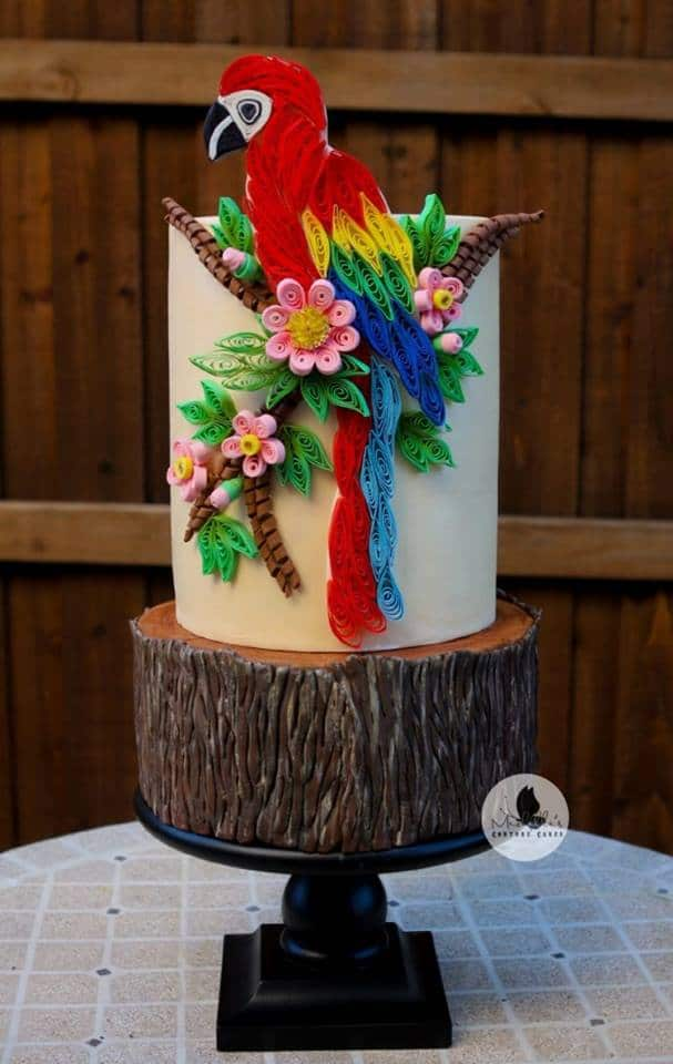 Quilled Parrot Cake