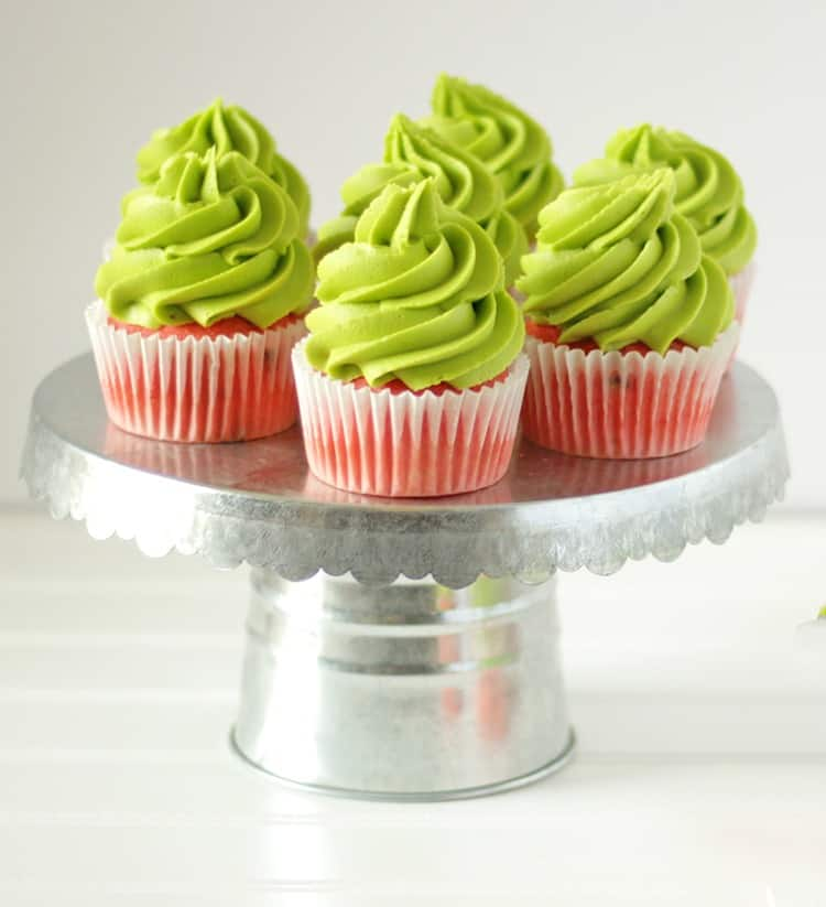 Watermelon Cupcakes on a silver cupcake stand