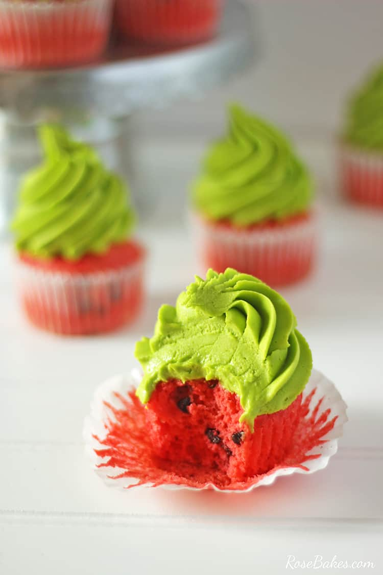 watermelon cupcake with bite missing