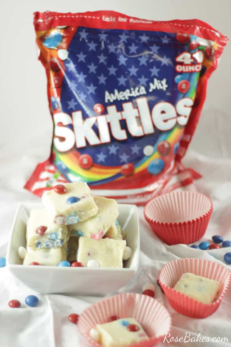White Chocolate Lemon Fudge with Skittles