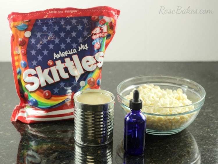White Chocolate Lemon Skittles Fudge Ingredients