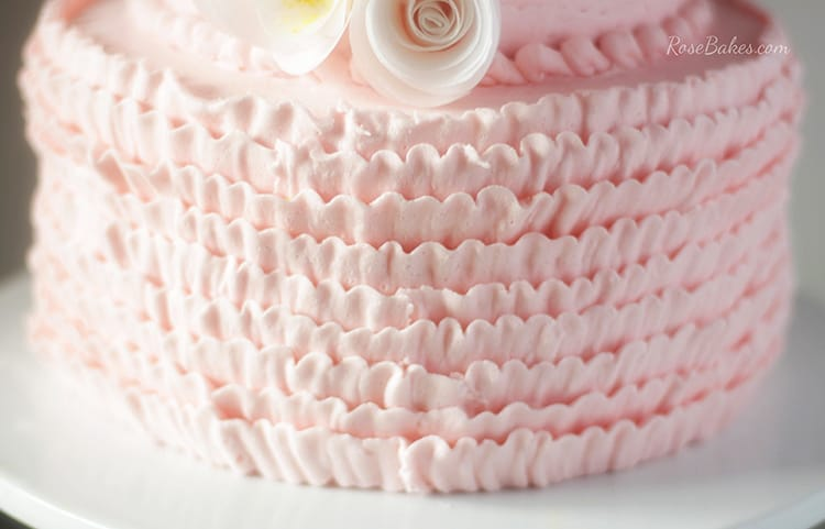 pink buttercream ruffles  wafer paper flowers baby shower cake, Baby shower invitation