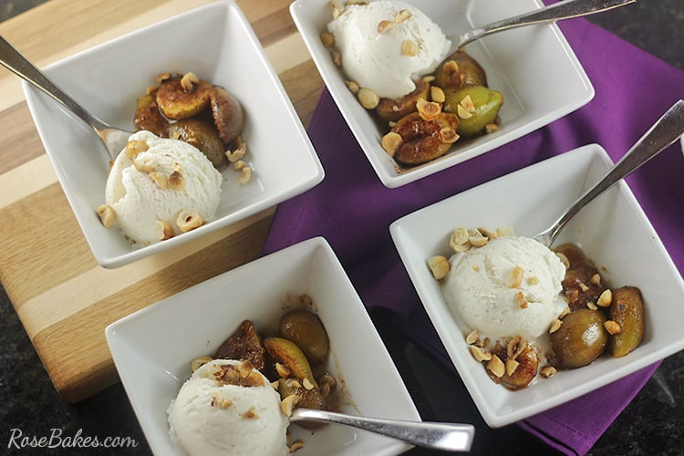 Spiced Roasted Figs with Hazlenuts Ice Cream Topper