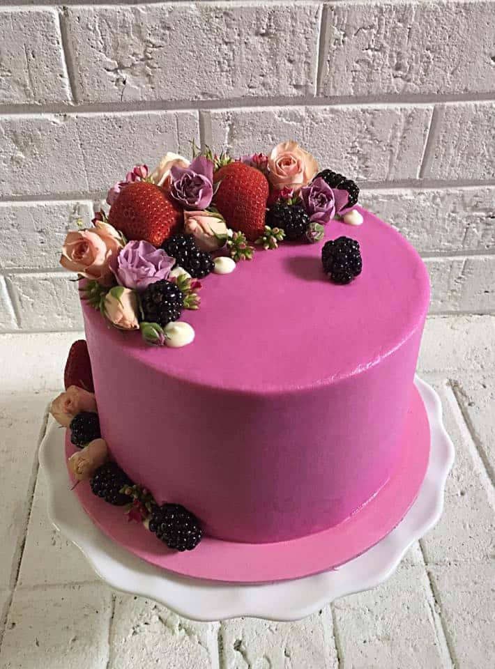 All Bent Out of Cake Fruit & Fresh Flowers Medly