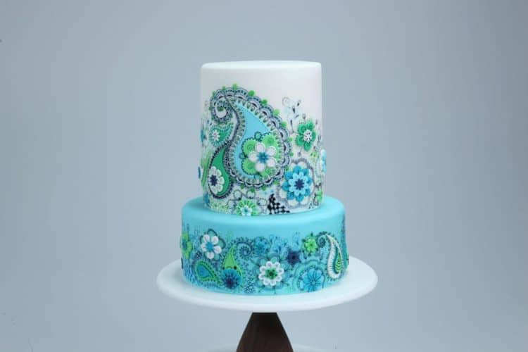 Blue Doodle Cake